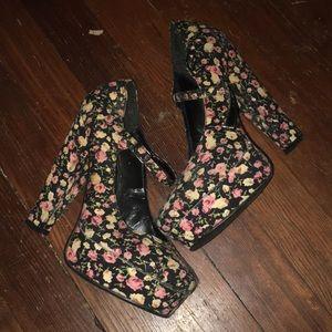 Chunky floral platform heels